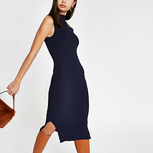 Navy ribbed high neck midi bodycon dress