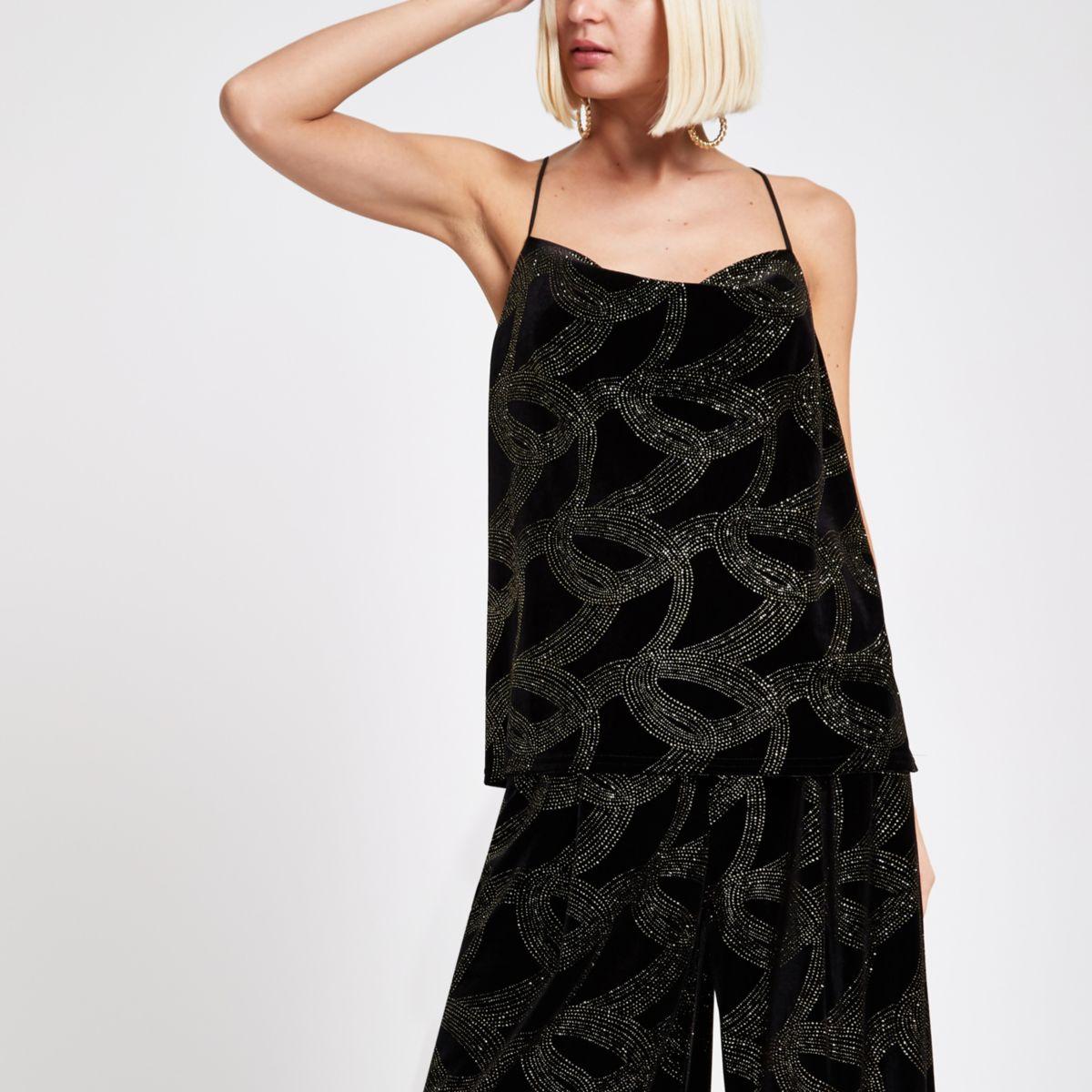 Black glitter embellished cowl neck cami top