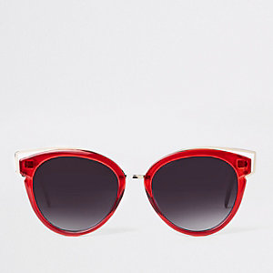 Red smoke lens cat eye sunglasses