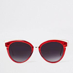 Lunettes de soleil œil de chat rouges à verres fumés