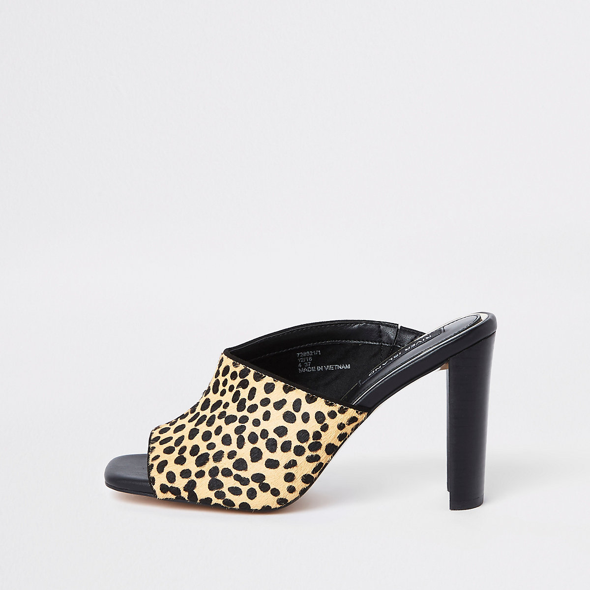 Brown leopard print asymmetric heeled mules
