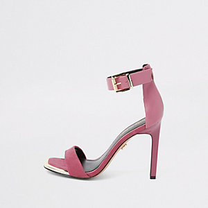 Roze minimalistische sandalen van imitatiesuède