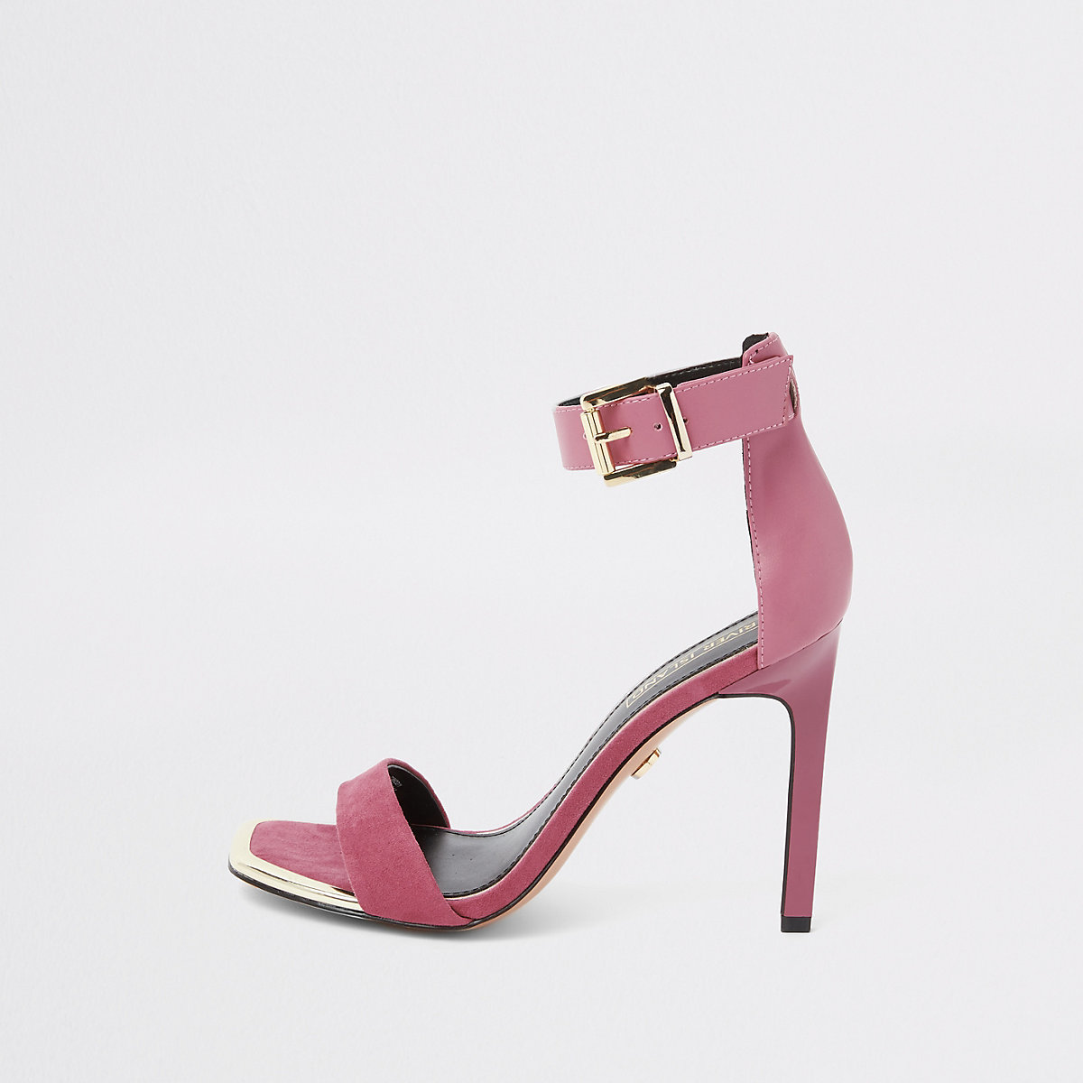 Pink faux suede barely there sandals