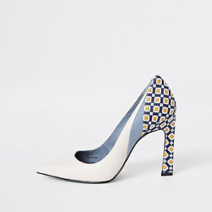 Blue printed block heel pumps