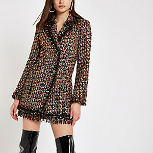 Black boucle double-breasted jacket