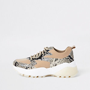 Beige vetersneakers met slangenprint