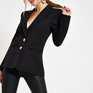 Black button front ponte long sleeve blazer