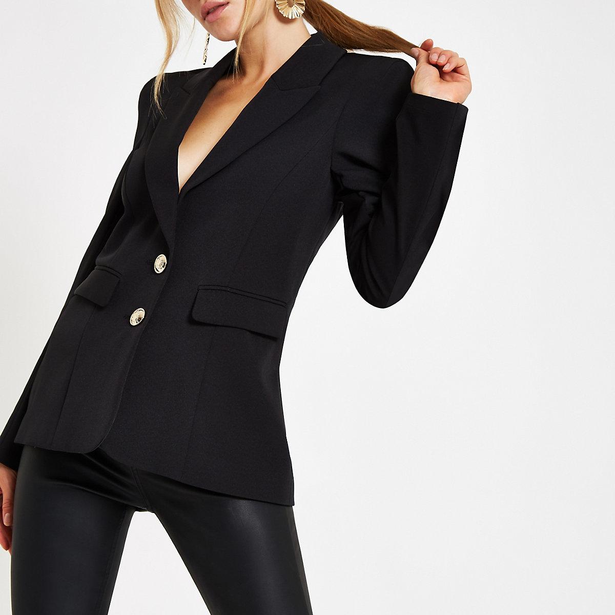 Black button front ponte long sleeve blazer