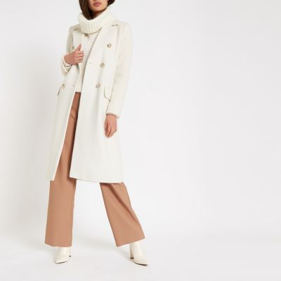 Cream Double Breasted Longline Coat by River Island