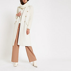 Cream double-breasted longline coat