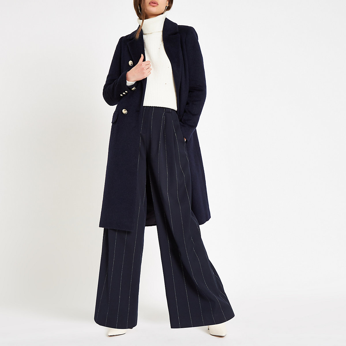 Navy double-breasted longline coat