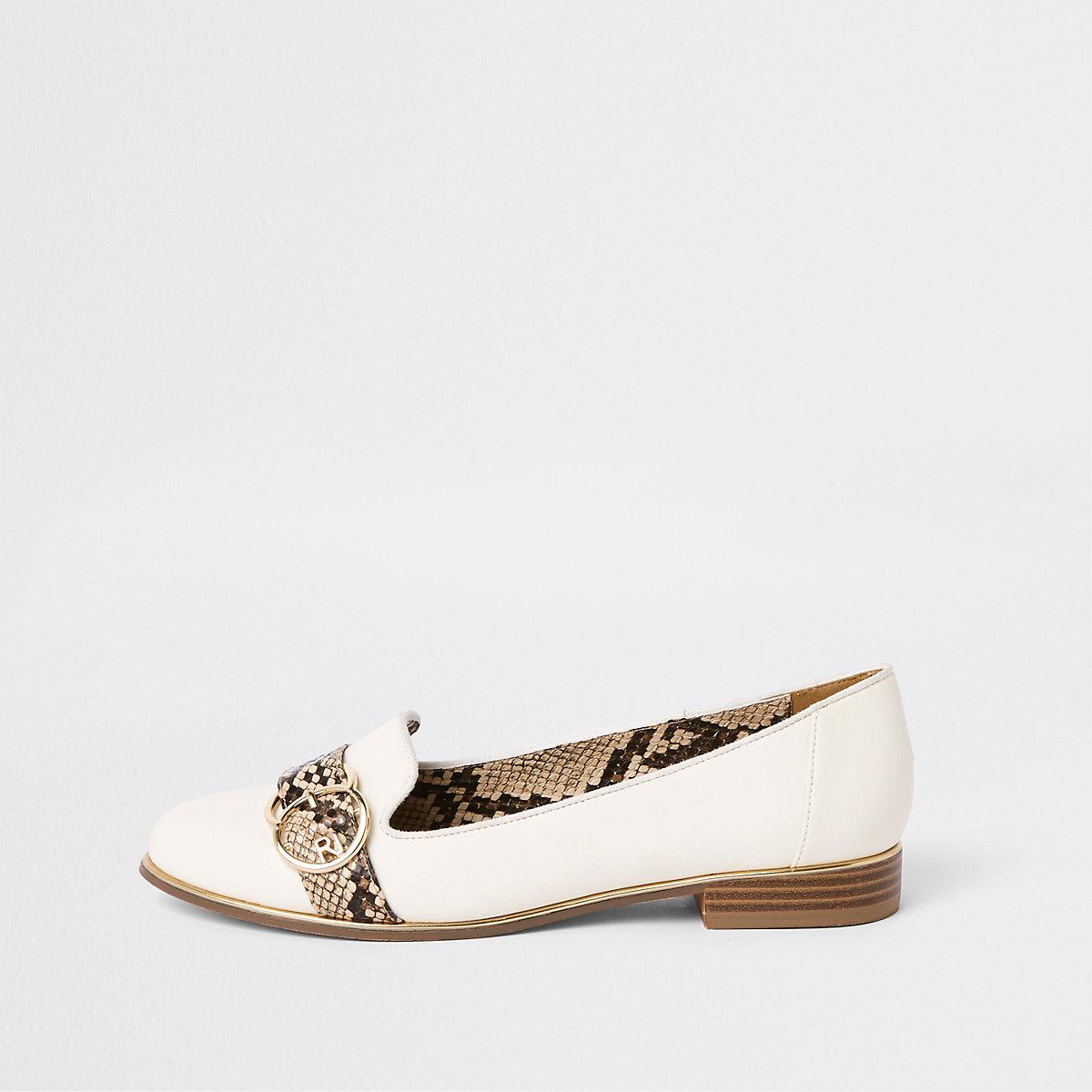 White snake print trim loafers