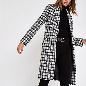 White check boucle longline coat