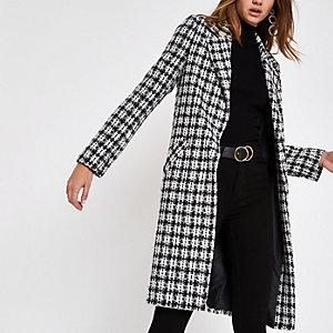 White check boucle longline coat