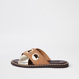 Light brown cross eyelet strap wide fit mules