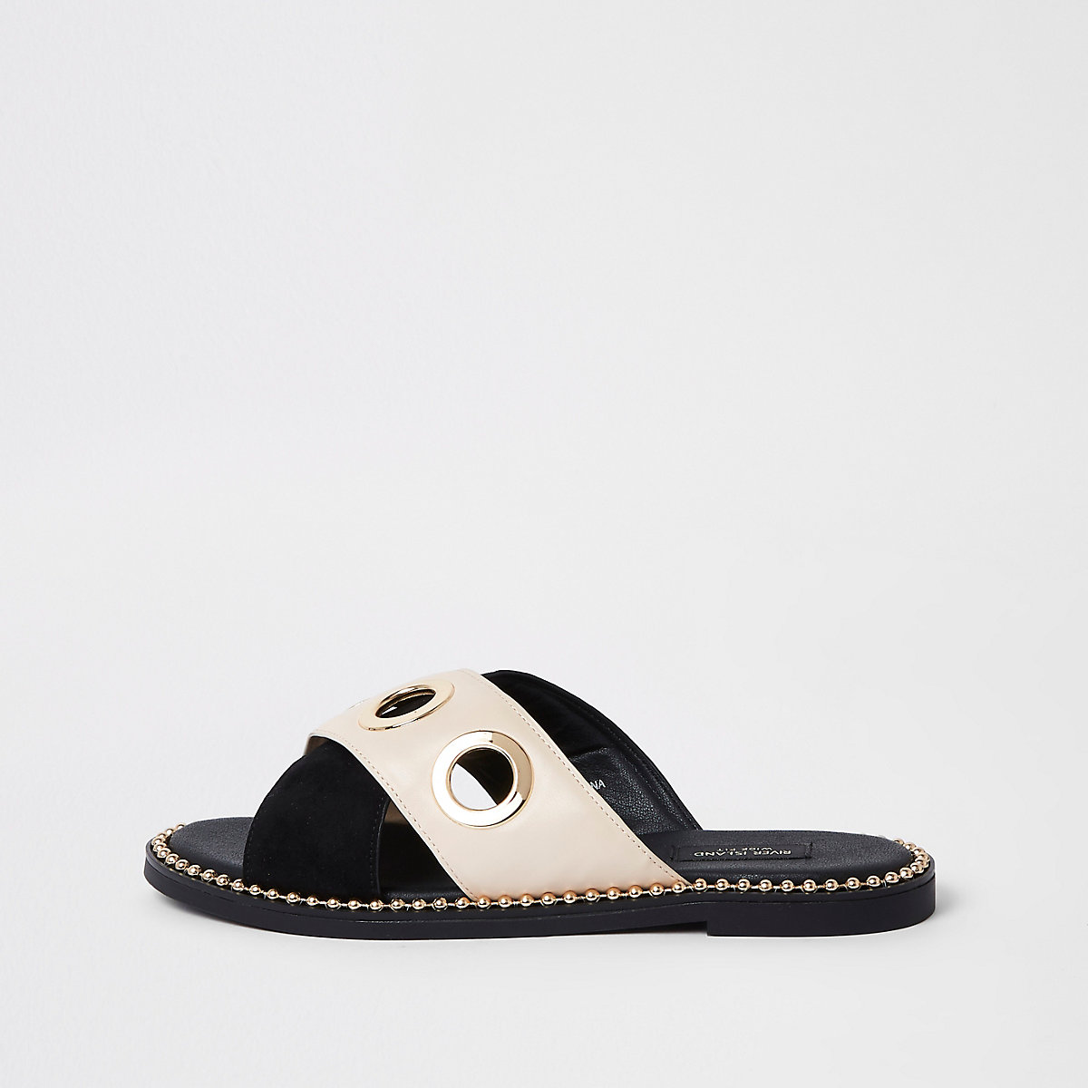 Black cross eyelet strap wide fit mules