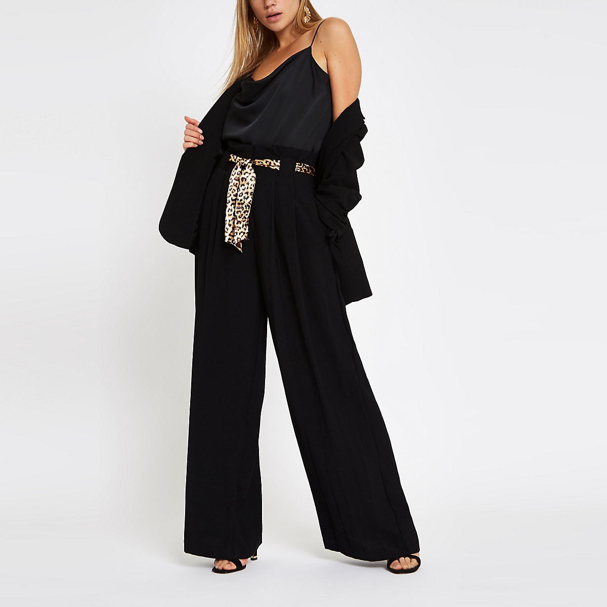Black leopard print belted wide leg pants