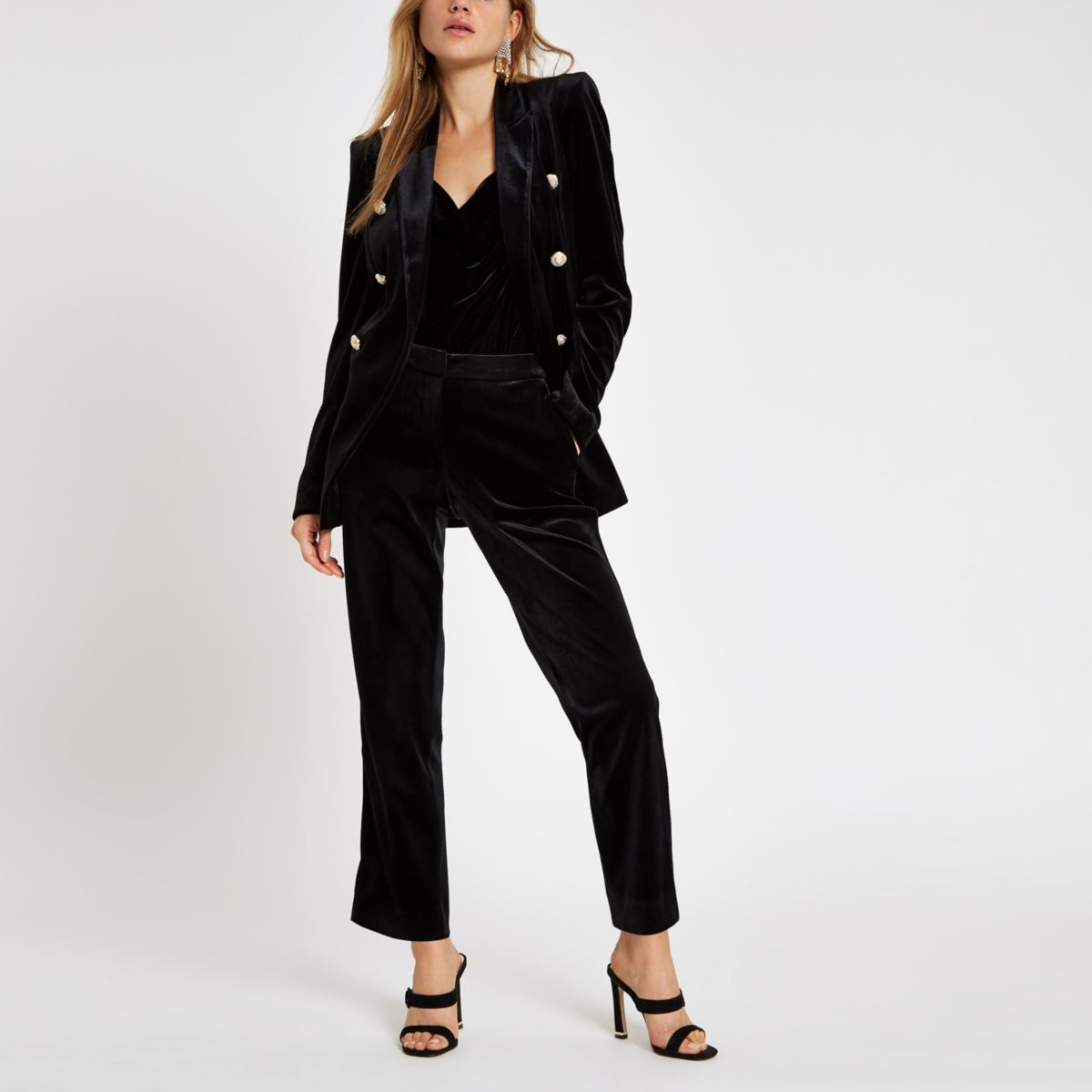 Black velvet cigarette pants