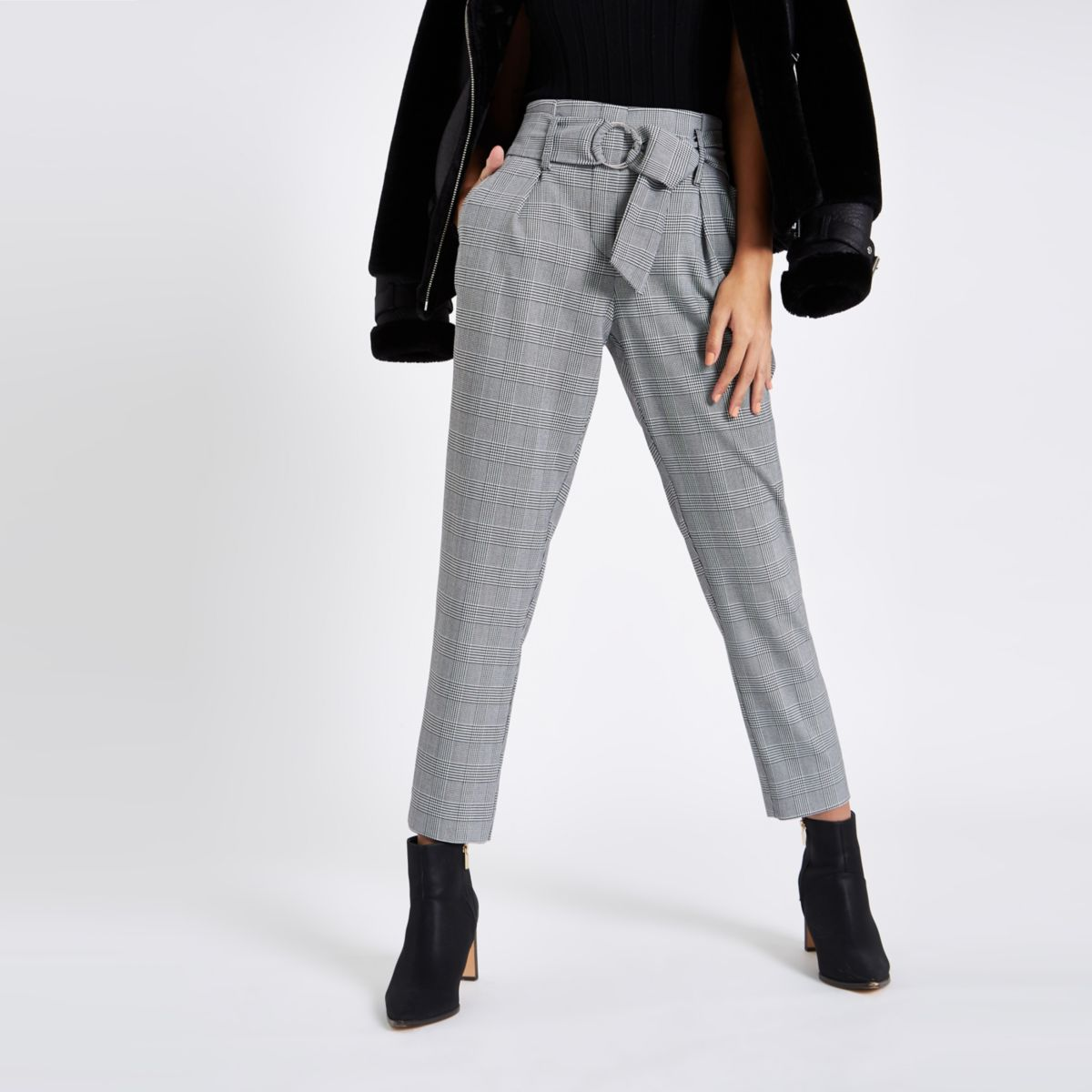 Black check tapered leg pants