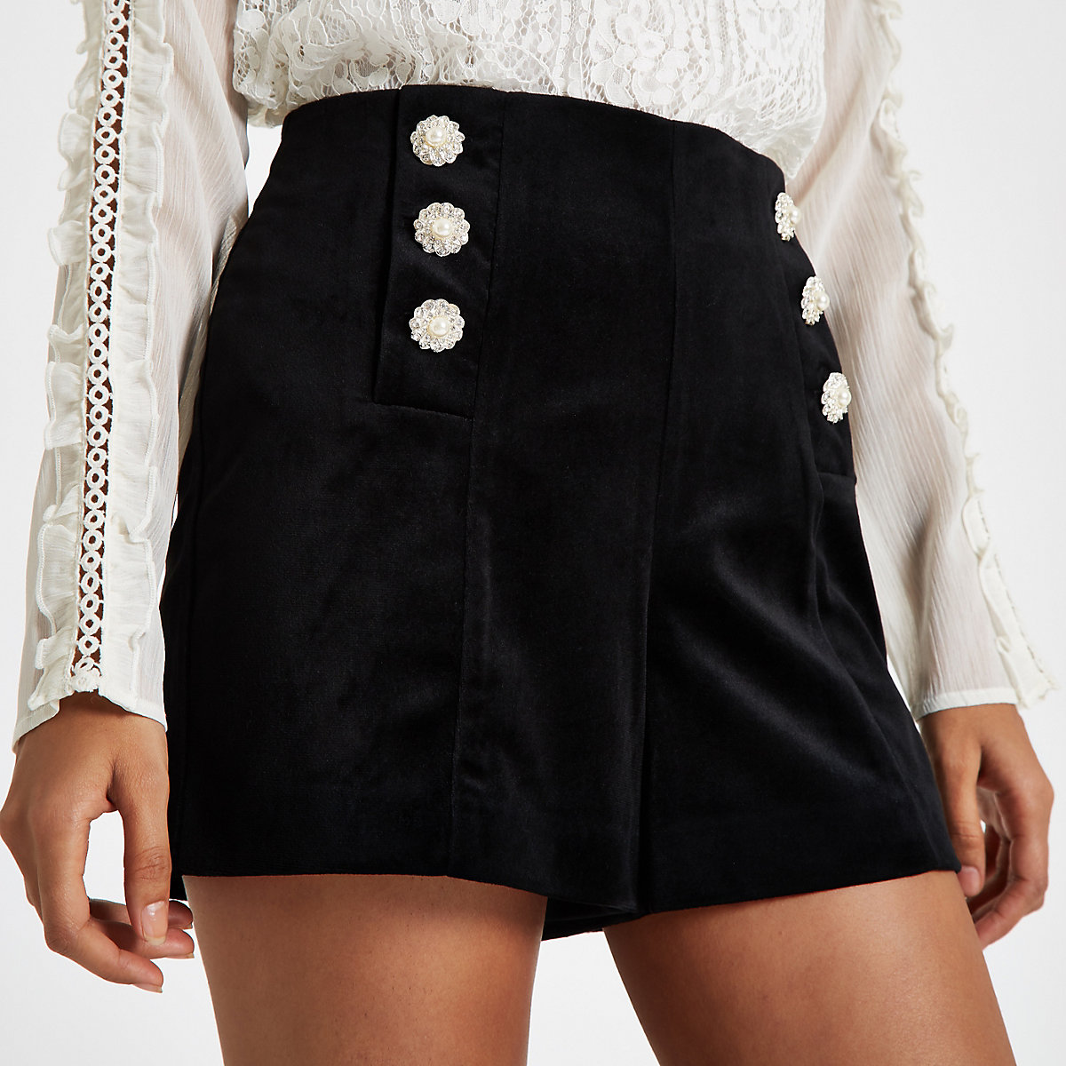 Petite black velvet embellished shorts