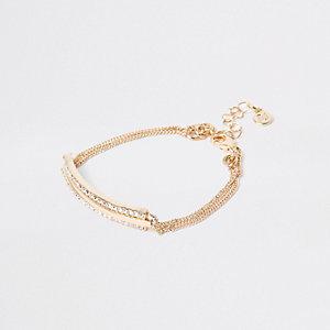 Gold tone rhinestone interlinked bracelet
