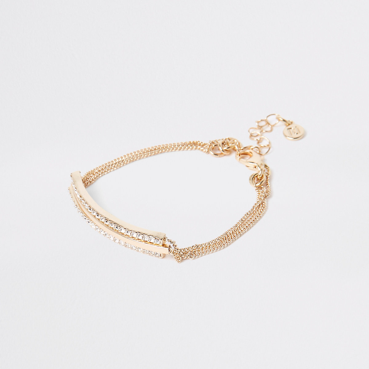Gold tone diamante interlinked bracelet