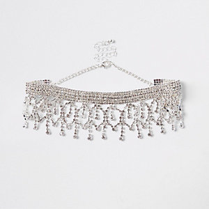 Silver color chandelier rhinestone drop choker