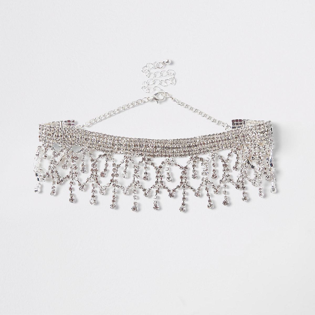 Silver colour chandelier diamante drop choker