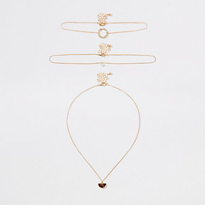 Gold tone pendant necklace multipack