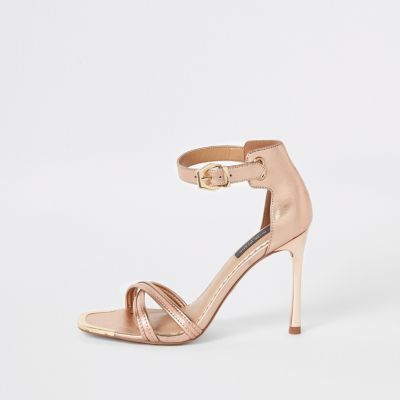 Rose Gold Wide Fit Barely There Sandals by River Island
