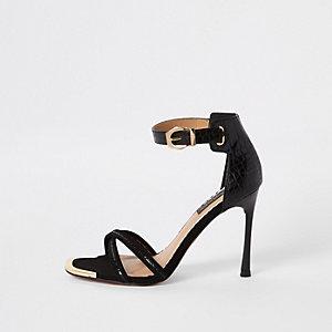 Sandales minimalistes effet croco noires coupe large