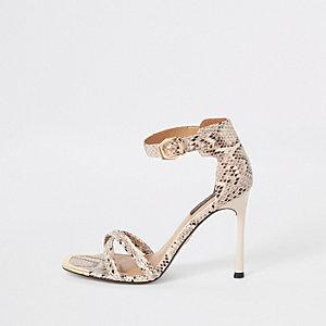 Sandales minimalistes à imprimé serpent grise coupe large