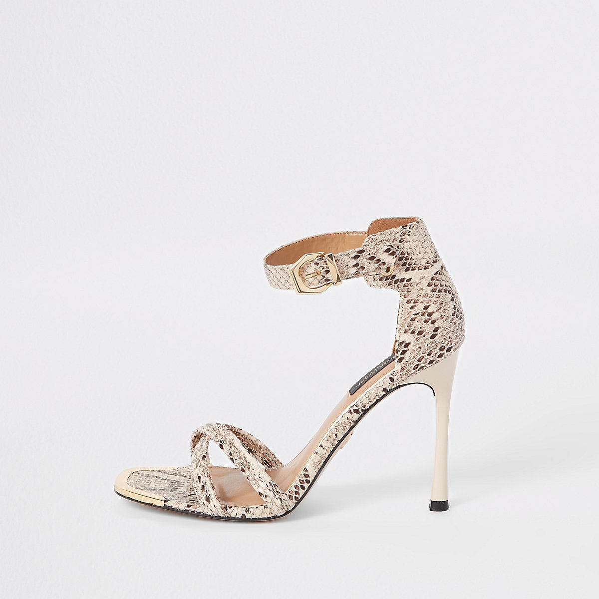 Grey snake print wide fit barely there sandal