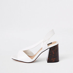 White wide fit cross strap block heel sandals