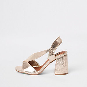 Gold wide fit cross strap block heel sandals