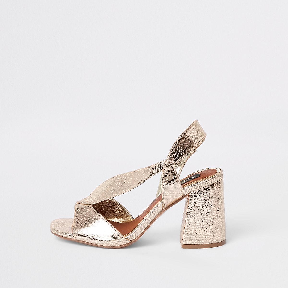 Gold wide fit cross strap block heel sandals
