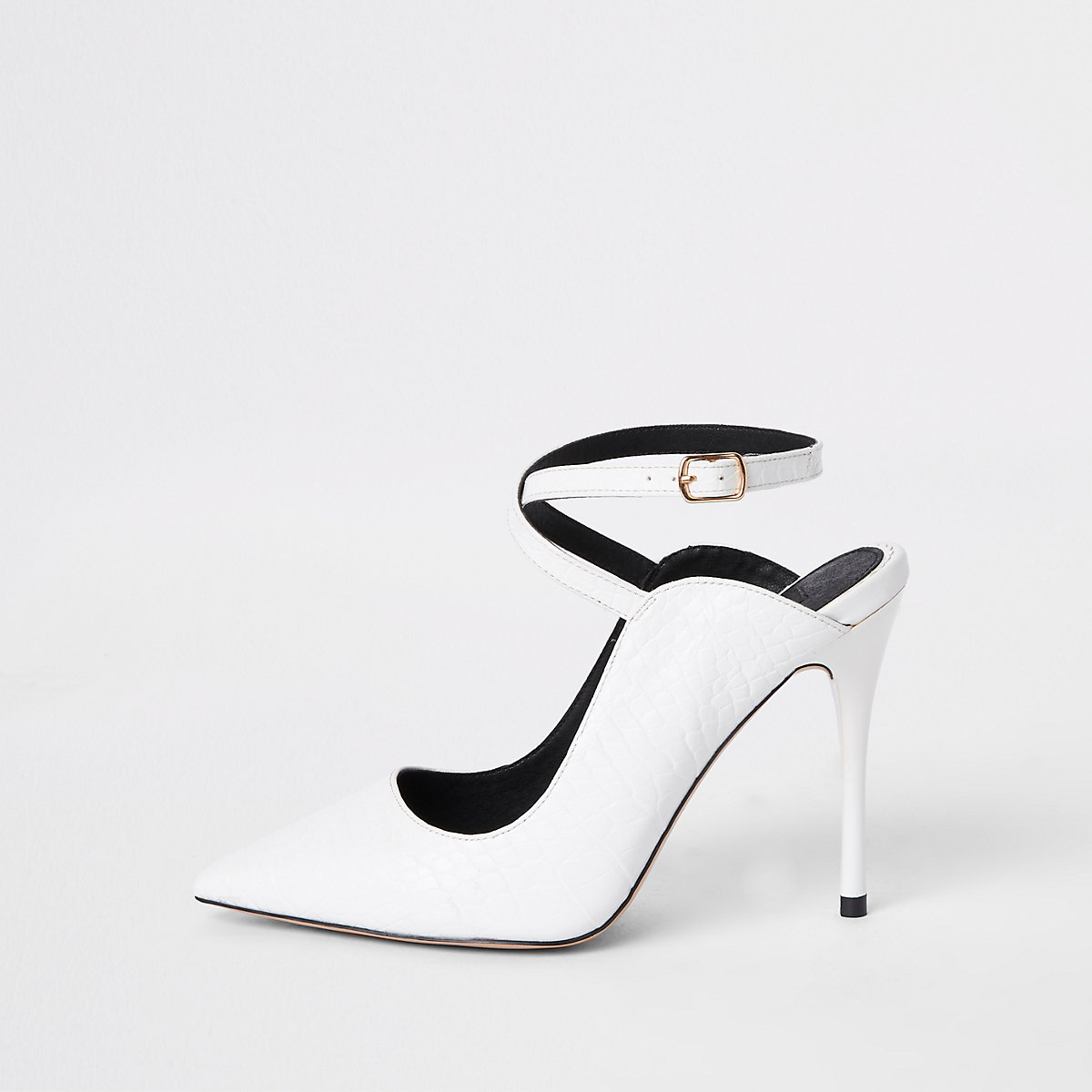 White ankle strap Wide fit court shoes