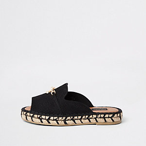 Black espadrille peep toe wide fit sandals