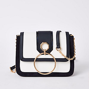 Navy circle flap front cross body bag