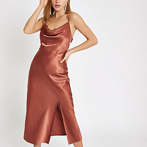 Rust satin lace cowl neck maxi dress