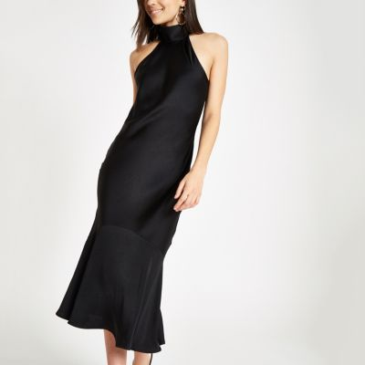 Black High Neck Frill Hem Maxi Dress by River Island