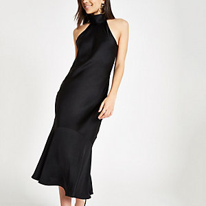 Black high neck frill hem midi dress