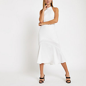 White halter neck midi dress
