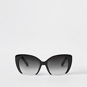 Black smoke lens cat eye glam sunglasses
