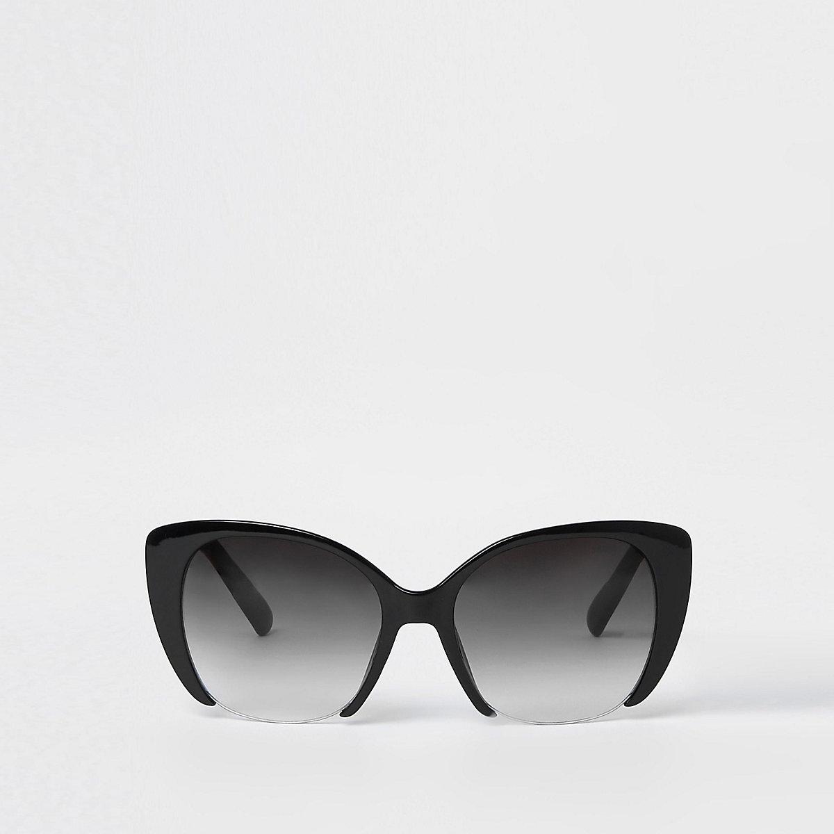 Black smoke lens cat eye glam sunglasses