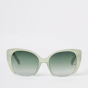 Green lens cat eye sunglasses
