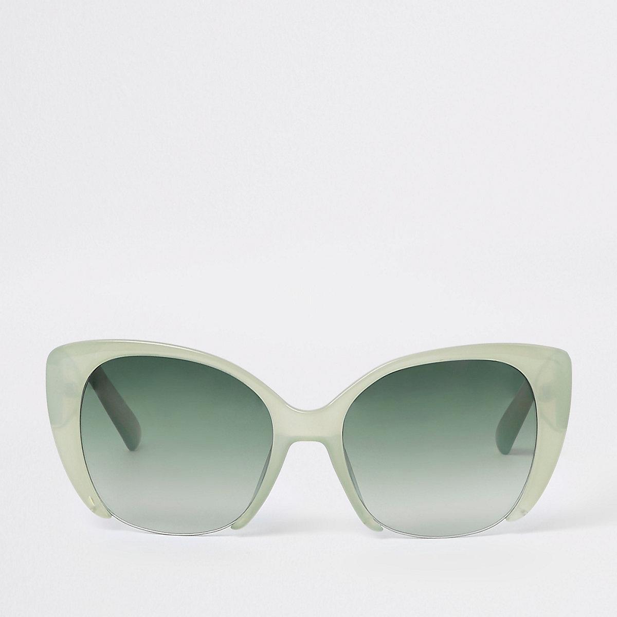Green lens cat eye sunglasses