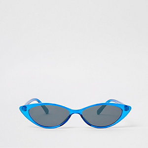 Blue slim cat eye pointed sunglasses