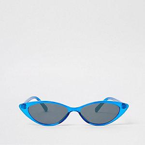 Lunettes de soleil yeux de chat bleues fines et pointues