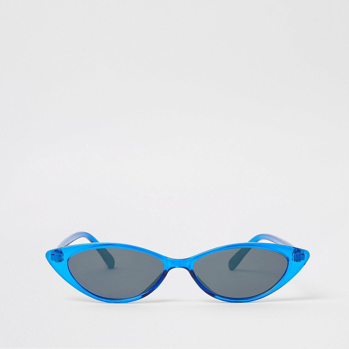 Blue slim cat eye pointed sunglasses